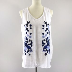 [Bass] White Floral Embroidered Linen Tank